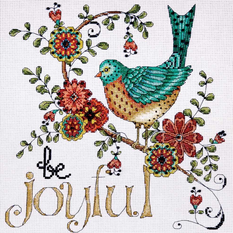 Design Works Counted Cross Stitch Kit 10x10 - Heartfelt Be Joyful (14 Count)