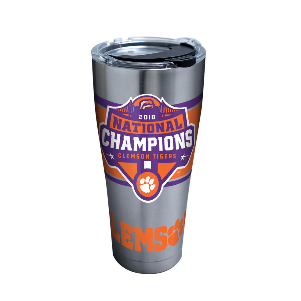 Ncaa Clemson Tigers 2018 National Champions 30 Oz Stainless Steel Tumbler With Lid