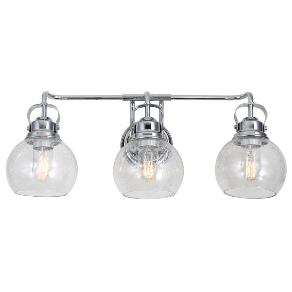 "Shirley 24"" 3-Light Metal Bubbled Glass Vanity Light Chrome By Jonathan Y"