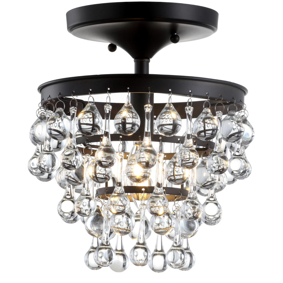 "Toronto 10"" Metal Crystal Led Flush Mount Oil Rubbed Bronze By Jonathan Y"