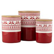 10 Strawberry Street Reindeer Embossed Canister w/ Bamboo Lids 3-Pack