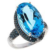 10K White Gold Blue Topaz and Blue and White Diamond Ring