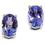 10K White Gold Oval Tanzanite Stud Earrings