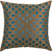 "18"" x 18"" Thumbprint Pillow - Peacock Blue/Brown"