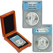 1986 MS70 ANACS Silver Eagle Dollar Coin