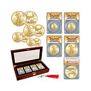 2016 ANACS PR70 FDOI LE (19) 4pc Gold Eagle Coin Set