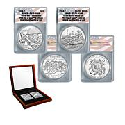 2018 PR70 FDOI WWI Centennial Silver Dollar and Coast Guard Medal Set