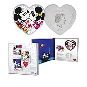 2019 Disney Mickey & Minnie Love Niue $2 Silver Heart-Shaped Coin