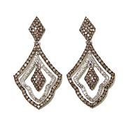 2.01ctw Champagne and White Diamond Drop Earrings