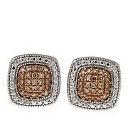 .25ctw Colored Diamond Sterling Silver Square Stud Earrings