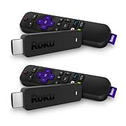 2pk Roku Stick Media Streamers w/Voice Search, TV Controls & Voucher