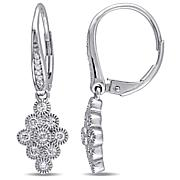 .47ctw Diamond 14K White Gold Cluster Drop Earrings