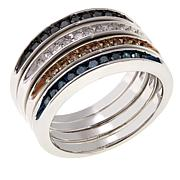 .50ctw Colored Diamonds Set of 4 Sterling Silver Band Rings