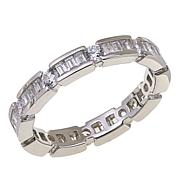 Absolute™ CZ Sterling Silver Round and Baguette Block Eternity Ring