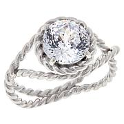 Absolute™ Sterling Silver Cubic Zirconia 120-Facet Round Rope Ring