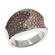 Absolute™ Sterling Silver Cubic Zirconia Champagne and Brown Pavé Ring