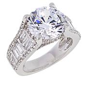 Absolute™ Sterling Silver Cubic Zirconia Round and Baguette Pavé Ring