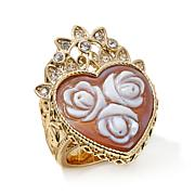 """AMEDEO 25mm """"Rose"""" Heart-Shaped Cameo and Crystal Ring"""