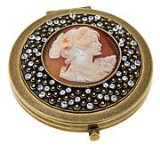 AMEDEO Vanitoso Cameo and Crystal Compact with Mirror