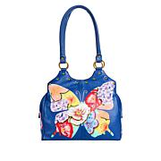 Anuschka Hand-Painted Leather Satchel with Stud Detail