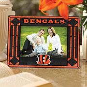 Art Glass Horizontal Photo Frame - Cincinnati Bengals