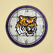 Art Glass Wall Clock - Louisiana State University
