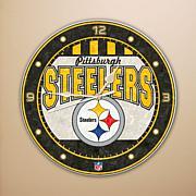 Art Glass Wall Clock - Pittsburgh Steelers