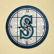 Art Glass Wall Clock - Seattle Mariners