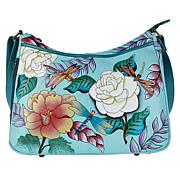 """""""As Is"""" Anuschka Hand-Painted Leather Hobo Shoulder Bag"""