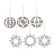 """As Is"" august & leo 6-pack Handmade Rhinestone Ornaments"