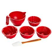 """""""As Is"""" Nordic Ware 4-piece Mini Microwave Bundts with Bowl and Spa..."""