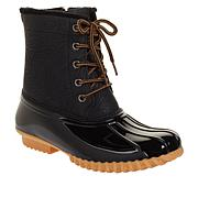 """As Is"" Sporto® Bella Waterproof Lace-Up Duck Boot with Zipper"