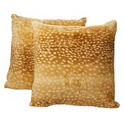 "august & leo 2-pack Faux Fur Deer Print 20"" x 20"" Pillows"