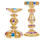 august & leo Set of 2 Glass LED Candle Holders