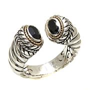 Bali Designs 1.04ctw Black Spinel 2-Tone Cuff Ring