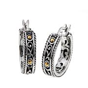 Bali Designs Scrollwork and Bead Detail Hoop Earrings