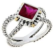 Bali RoManse Sterling Silver and 18K Created Gemstone Split Shank Ring