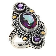 Bali RoManse Sterling Silver and 18K Oval Quartz and Gemstone Ring