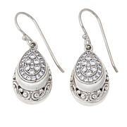 Bali RoManse Sterling Silver Cubic Zirconia Pear-Shaped Drop Earrings