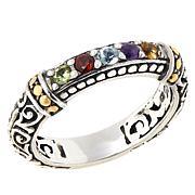 Bali RoManse Sterling Silver Multi-Gemstone Scrollwork Stack Ring