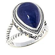 Bali RoManse Sterling Silver Pear-Shaped Tanzanite Scrollwork Ring