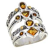 Bali RoManse Sterling Silver Two-Tone Multi-Band Multi-Gemstone Ring