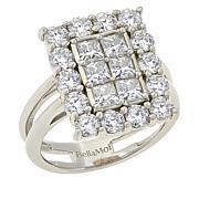 BellaMoi Sterling Silver 2.3ctw Created Moissanite Rectangular Ring
