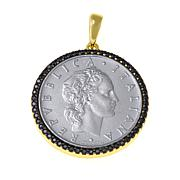 Bellezza 50 Lira Coin Black Spinel  Frame Bronze Pendant