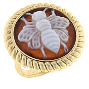 Bellezza Bronze Brown Shell Cameo Oval Bee Ring
