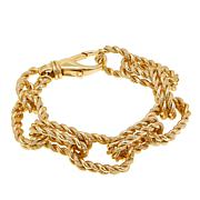 Bellezza Bronze Rope-Textured Oval Link Bracelet