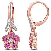 Bellini 14K Rose Gold Diamond & Sapphire Flower Leverback Earrings
