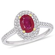 Bellini 14K Two-Tone Oval Ruby and Diamond Double Halo Ring