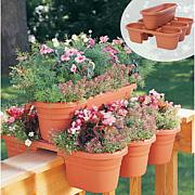 Bloem Milano 4-Piece Rail Planter Set - Terra Cotta Color