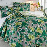Carleton Varney 100% Cotton Fazenda Lily 3pc Quilt Set